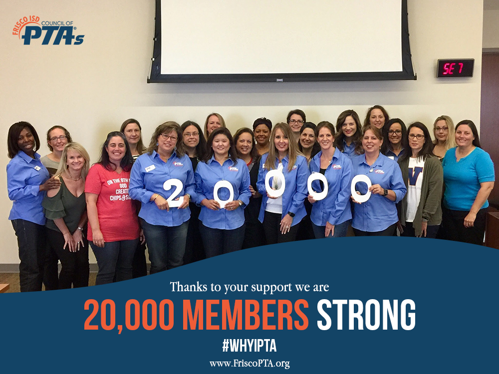 Frisco PTA council and board members celebrate 20,000 members